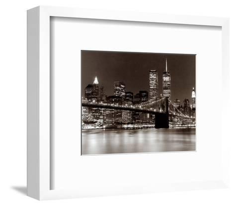 Over the Brooklyn Bridge at Night-Walter Gritsik-Framed Art Print