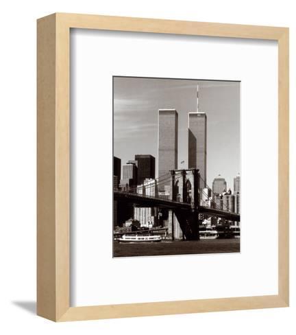 World Trade Center and Brooklyn Bridge-Walter Gritsik-Framed Art Print
