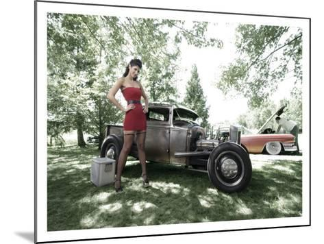 Hot Rod Pin-Up Girl-David Perry-Mounted Giclee Print
