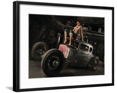 50's Pin-Up Girl-David Perry-Framed Art Print