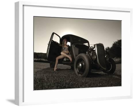 Hot Rod Pin-Up Girl-David Perry-Framed Art Print