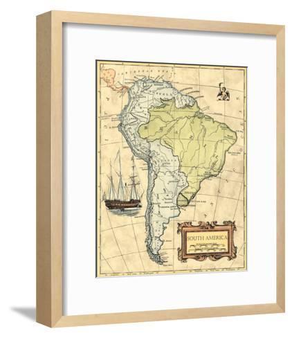South America Map--Framed Art Print