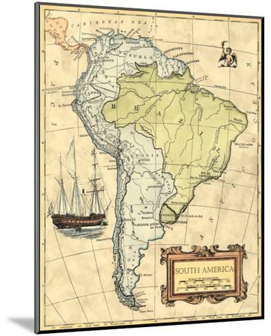 South America Map--Mounted Art Print