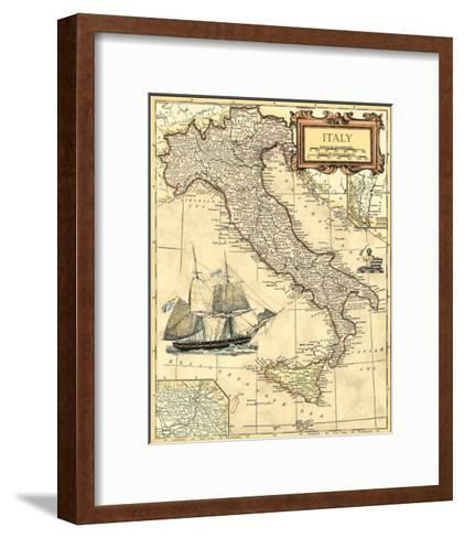 Italy Map--Framed Art Print