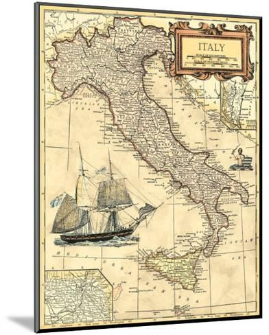 Italy Map--Mounted Art Print
