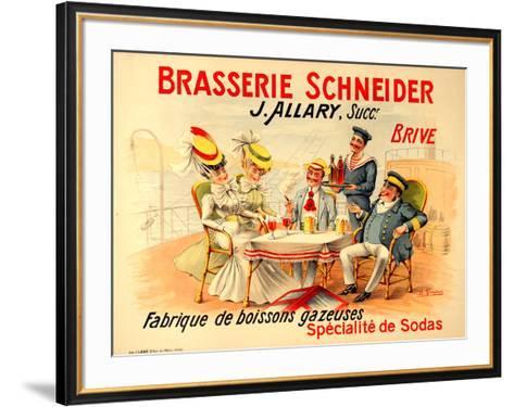 Brasserie Schneider- Quendray-Framed Art Print