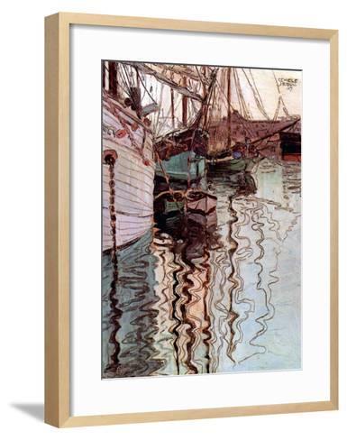 Der Hafen von Triest-Egon Schiele-Framed Art Print