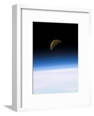 Space Shuttle View of Earth and Moon--Framed Art Print