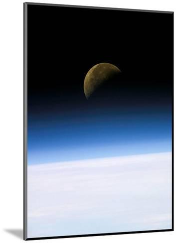 Space Shuttle View of Earth and Moon--Mounted Art Print