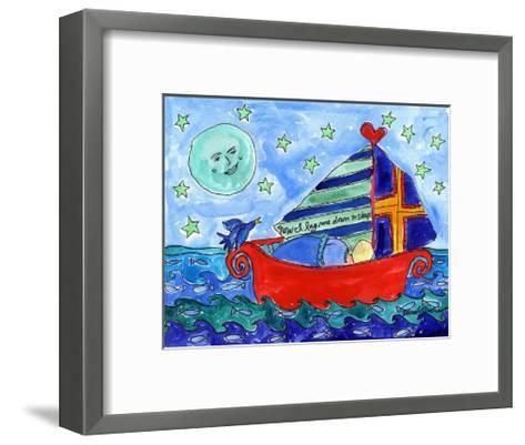 Moon Fish and Star Sailing-Deborah Cavenaugh-Framed Art Print
