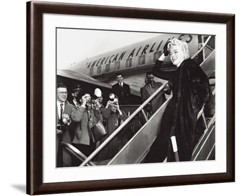 Marilyn Monroe Boards Airplane, New York, c.1956--Framed Art Print