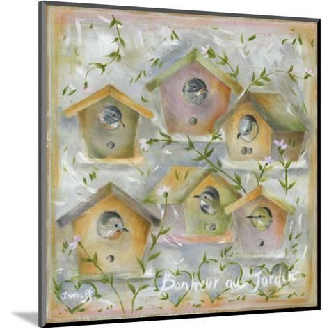 Oiseaux, Bonheur au Jardin-Jo?lle Wolff-Mounted Art Print