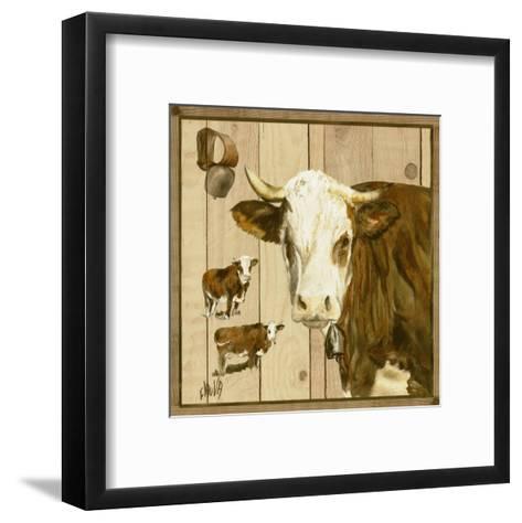 Vache Marron et Blanche-Clauva-Framed Art Print