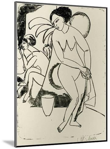Naked Woman in the Studio-Ernst Ludwig Kirchner-Mounted Art Print