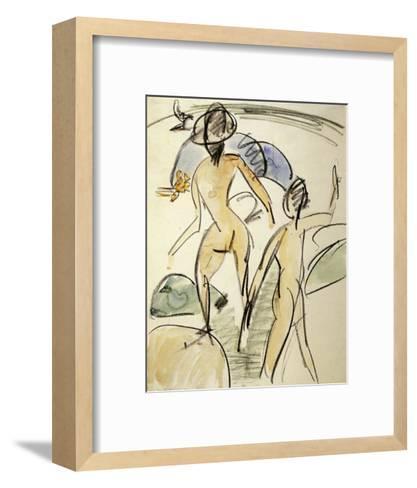 Bather with Hat-Ernst Ludwig Kirchner-Framed Art Print
