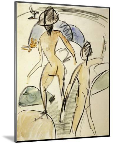 Bather with Hat-Ernst Ludwig Kirchner-Mounted Art Print