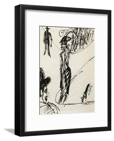 Cocotte with Dog-Ernst Ludwig Kirchner-Framed Art Print