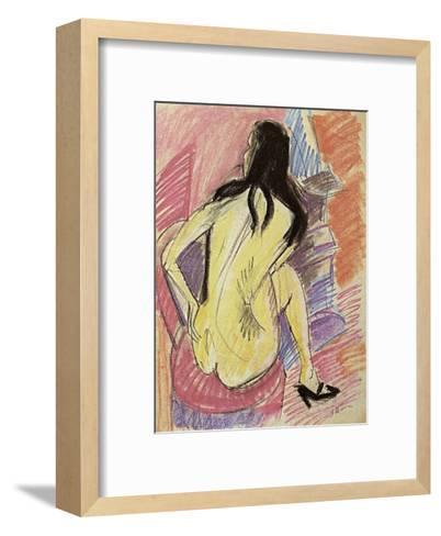 Sceated Nude from the Back-Ernst Ludwig Kirchner-Framed Art Print