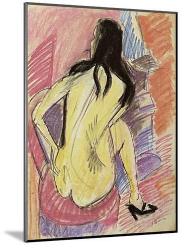 Sceated Nude from the Back-Ernst Ludwig Kirchner-Mounted Art Print