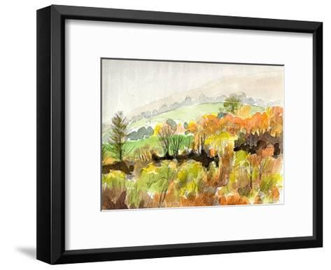 The Whole Mountainside is Ablaze in Scarlet-Tinged Autumn Leaves, Glorious Autumn in Yatsugatake-Kenji Fujimura-Framed Art Print