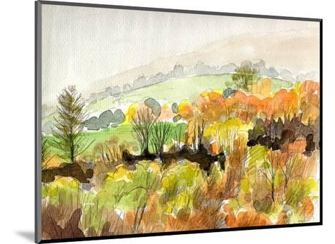 The Whole Mountainside is Ablaze in Scarlet-Tinged Autumn Leaves, Glorious Autumn in Yatsugatake-Kenji Fujimura-Mounted Art Print