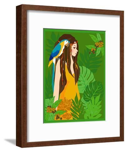 Girl in Tropical Paradise with Blue Bird-Noriko Sakura-Framed Art Print