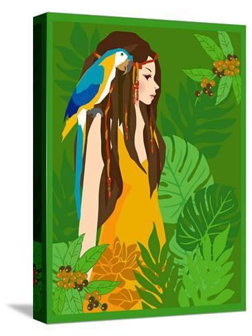 Girl in Tropical Paradise with Blue Bird-Noriko Sakura-Stretched Canvas Print