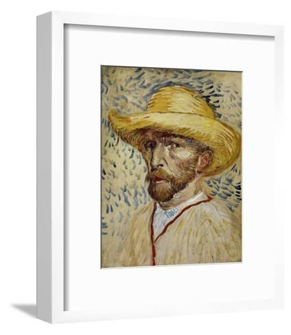 Self-Portrait with Straw Hat-Vincent van Gogh-Framed Art Print