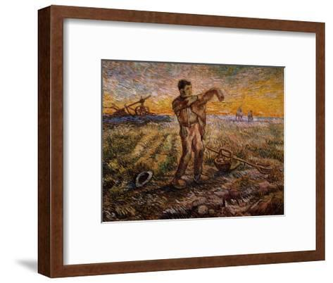 Evening, The End of the Day-Vincent van Gogh-Framed Art Print