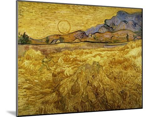 Wheat Field with Reaper and Sun-Vincent van Gogh-Mounted Giclee Print