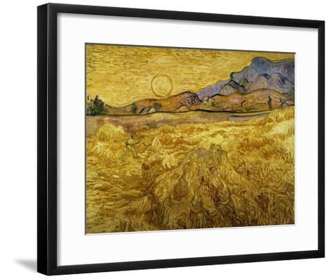 Wheat Field with Reaper and Sun-Vincent van Gogh-Framed Art Print