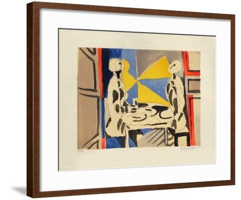 Deux personnages a table-Jacques Lagrange-Framed Art Print