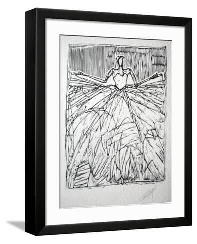 Composition 40 fond blanc-Yves Clerc-Framed Art Print