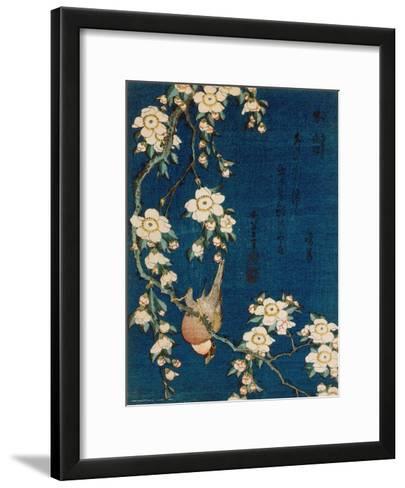 Goldfinch and Cherry Tree, c.1834-Katsushika Hokusai-Framed Art Print