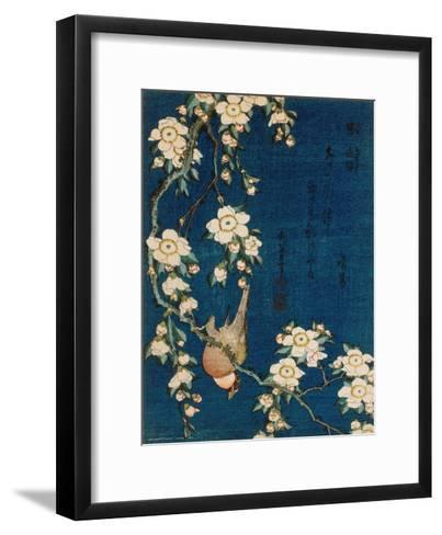 Goldfinch and Cherry Tree, c.1834-Katsushika Hokusai-Framed Art Print