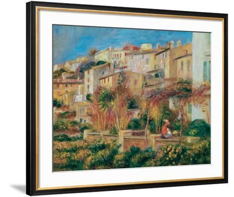 Terrace at Cagnes-Pierre-Auguste Renoir-Framed Art Print