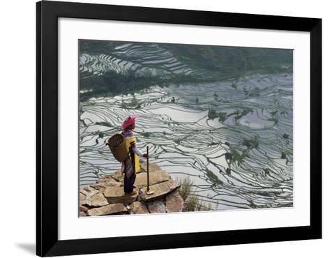 Rice Fields with Water, Yi Woman-Bruno Morandi-Framed Art Print