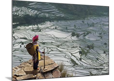 Rice Fields with Water, Yi Woman-Bruno Morandi-Mounted Art Print