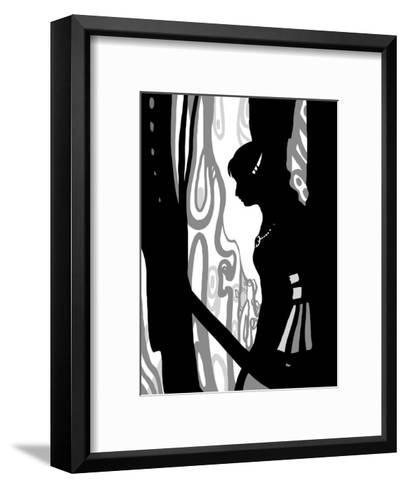 Japanese Kiri-e: Woman Lovely in Rain but Sad in Expression-Kyo Nakayama-Framed Art Print