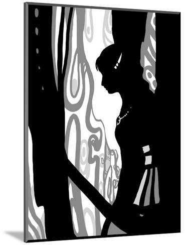 Japanese Kiri-e: Woman Lovely in Rain but Sad in Expression-Kyo Nakayama-Mounted Giclee Print