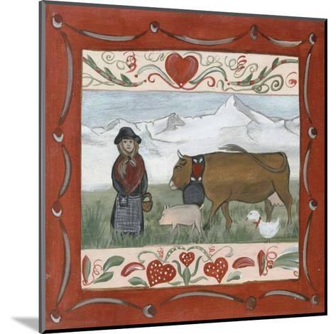 Fermiere et Animaux-Nathalie Renzacci-Mounted Art Print