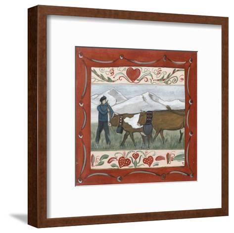 Fermier et Vache-Nathalie Renzacci-Framed Art Print