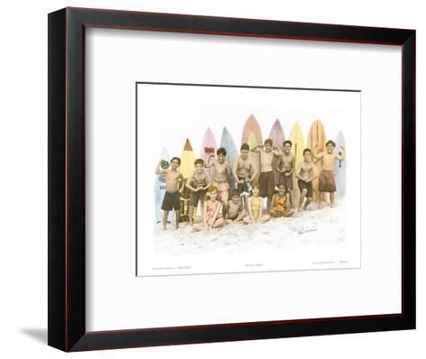 Surf's Up!, Hand Colored Photo of Hawaiian Children-Himani-Framed Art Print