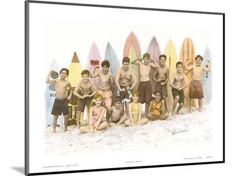 Surf's Up!, Hand Colored Photo of Hawaiian Children-Himani-Mounted Art Print