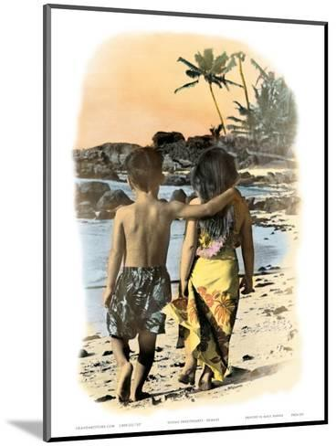Young Sweethearts, Hand Colored Photo of Hawaiian Children-Himani-Mounted Art Print