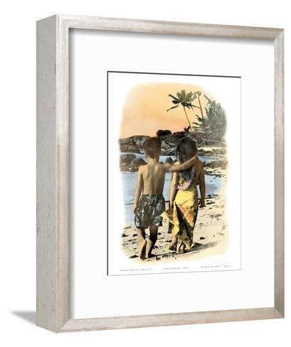 Young Sweethearts, Hand Colored Photo of Hawaiian Children-Himani-Framed Art Print
