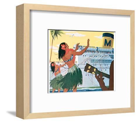 Hula Greeting on Boat Day, Honolulu Harbor, Hawaii, c.1930--Framed Art Print