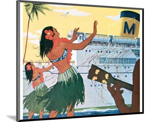 Hula Greeting on Boat Day, Honolulu Harbor, Hawaii, c.1930--Mounted Art Print