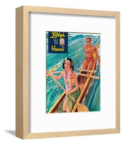 Surfing on Outrigger Canoe, Libby's Pineapple Hawaii, c.1957-Laffety-Framed Art Print