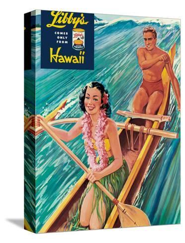 Surfing on Outrigger Canoe, Libby's Pineapple Hawaii, c.1957-Laffety-Stretched Canvas Print